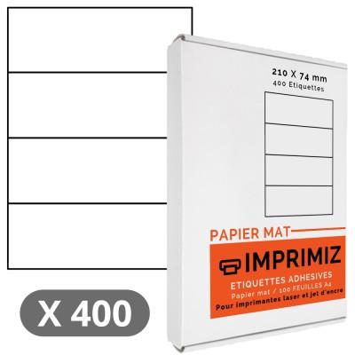 400 Étiquettes 210 x 74 mm - 100 Feuilles A4 - Papier Mat