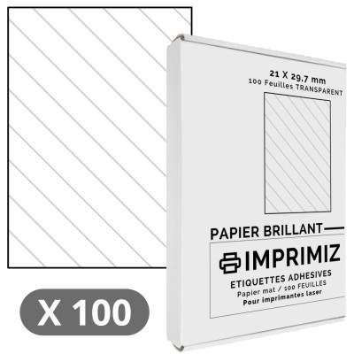 100 Feuilles autocollantes A4 - Transparent -210 x 297 mm