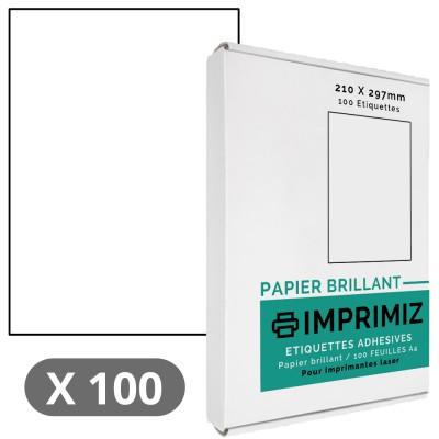 100 Étiquettes 210 x 297 mm - 100 Feuilles A4 - Papier Brillant