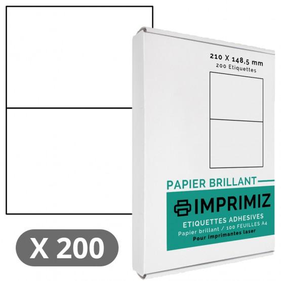 200 Étiquettes 210 x 148 mm - 100 Feuilles A4 - Papier Brillant