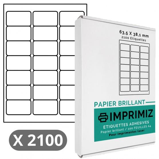 Étiquettes 63,5 x 38,1 mm - 100 Feuilles A4 - Papier Brillant