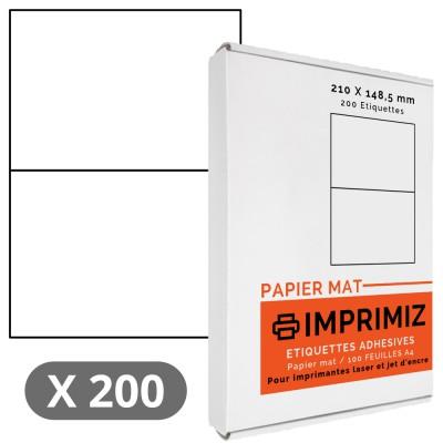 200 Étiquettes 210 X 148,5 mm - 100 Feuilles A4 - Papier Mat