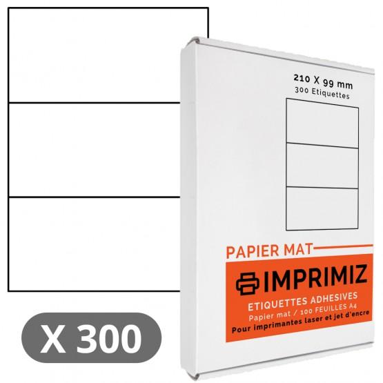 Étiquettes 210 x 99 mm - 100 Feuilles A4 - Papier Mat