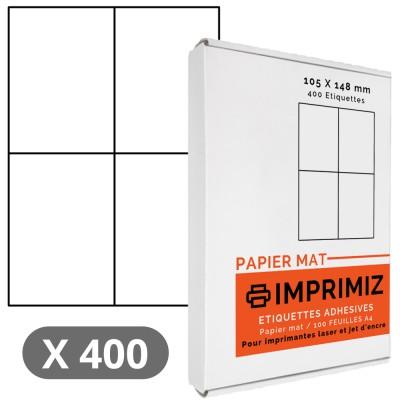 400 Étiquettes 105 X 148 mm - 100 Feuilles A4 - Papier Mat