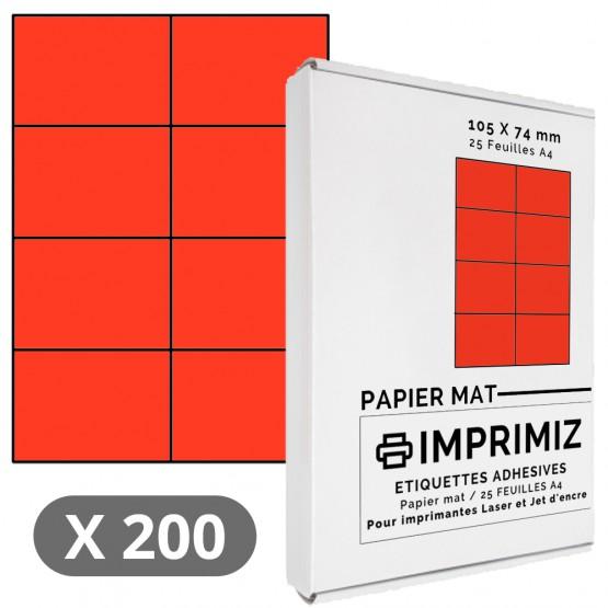 200 Étiquettes 105 x 74 mm - Rouge - 25 Feuilles autocollantes A4