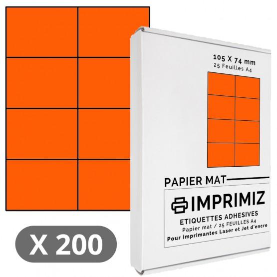 200 Étiquettes 105 x 74 mm - Orange - 25 Feuilles autocollantes A4