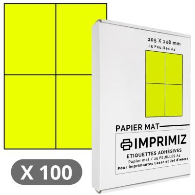 100 Étiquettes 105 x 148 mm - Jaune fluo - 25 Feuilles autocollantes A4