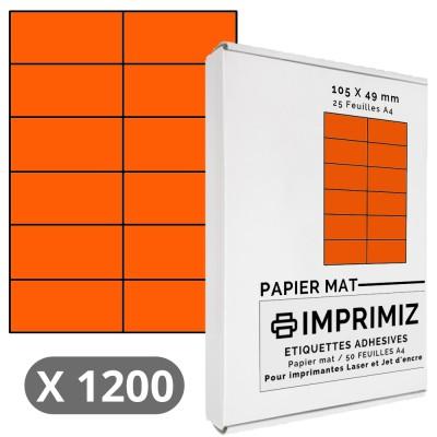 300 Étiquettes 105 x 49,5 mm - Orange fluo - 25 Feuilles autocollantes A4
